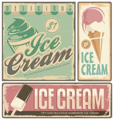 Canvas print Ice cream vintage metal signs set
