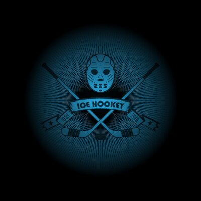 Canvas print Ice hockey! Sports logo. the emblem appearing out of the darkness. Perfect on your black shirt! vector