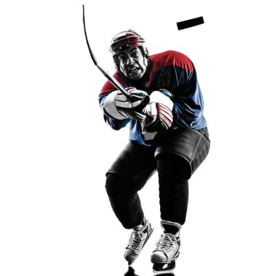 Canvas print Ice hockey man player silhouette