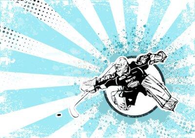 Canvas print ice hockey retro poster background