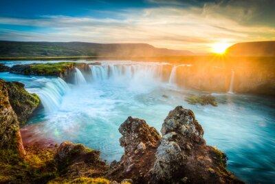 Canvas print Iceland, Godafoss at sunset, beautiful waterfall, long exposure
