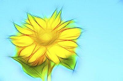 Canvas print Illustration gelbe Sonnenblume auf Blau