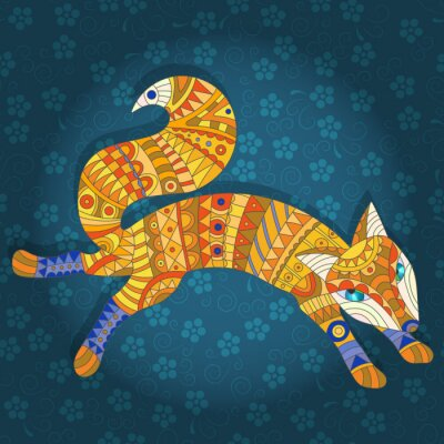 Canvas print Illustration in stained glass style abstract cat and fish