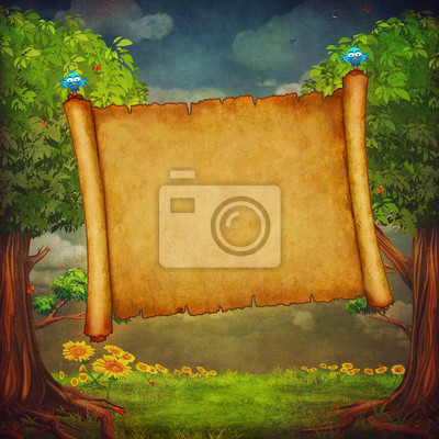 Canvas print Illustration of a big banner in the forest