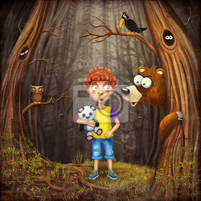 Canvas print Illustration of a boy standing in the forest