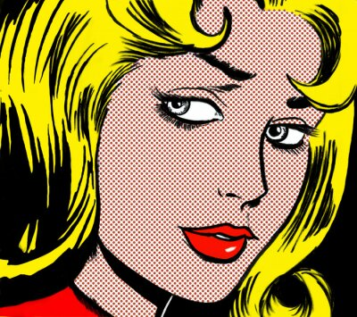 Canvas print illustration of a girl face in the style of 60s comic books, pop art