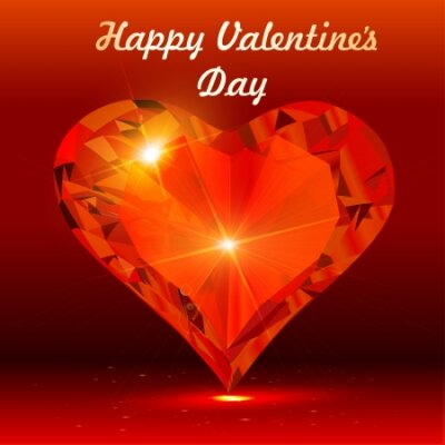 illustration of a postcard on Valentine's day with the heart of a precious stone