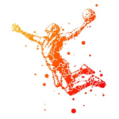 Canvas print illustration of abstract basketball player in jump