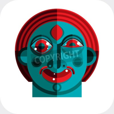 Canvas print illustration of bizarre modernistic avatar, cubism theme picture. Expression on a person's face.