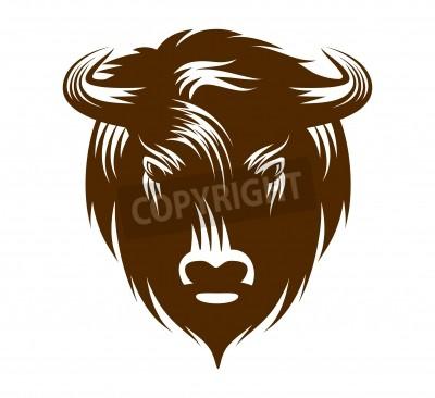 Illustration of buffalo head isolated on white background