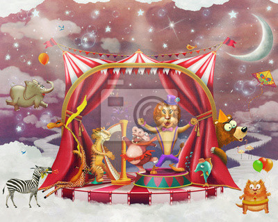 Canvas print Illustration of cute circus  animals on stage in sky - illustration art