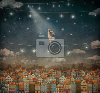 Canvas print Illustration of  cute houses and  pretty girl   in night sky