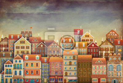 Canvas print Illustration of  cute houses in sky