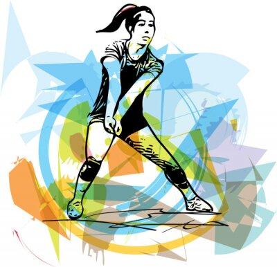 Canvas print Illustration of volleyball player playing