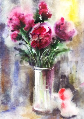 Canvas print Illustration of watercolor bouquet of red peonies. Wet in Wet watercolor technique