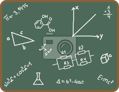 Illustration Set of school symbols on chalkboard