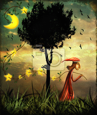 Canvas print Illustration showing the wizard collecting stars in a forest