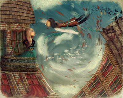 Canvas print Illustration shows a man in sky.He grows into a bird.A girl stands on a balcony and looks in sky