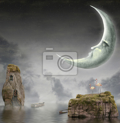 Canvas print  Illustration shows  moon in sky