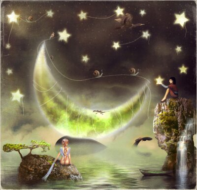 Canvas print Illustration shows the fairy-tale island in the sky