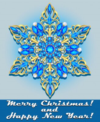 Illustration vector template for greeting New Year and Christmas card with golden snowflake with precious stones