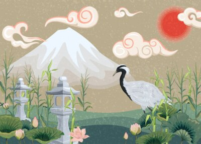 Canvas print illustration with mountain, crane, lotuses and lanterns
