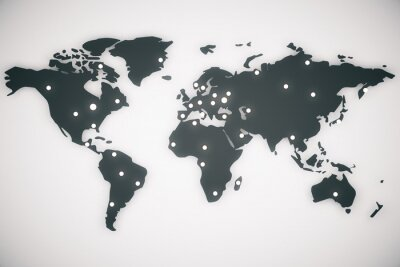 Canvas print Illustration world map with capitals, 3d render
