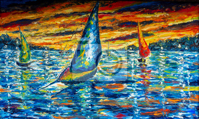 Impressionism seascape oil painting, contemporary style, palette knife and brush. Expressionism, Sailing ship, yacht, boat. Yellow red black clouds, sunset over sea.