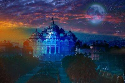 Canvas print India. Delhi.temple Akshardham by light of  full Moon.