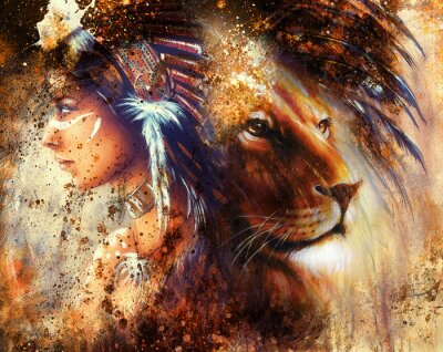 Canvas print indian woman wearing  feather headdress with lion and abstract color collage