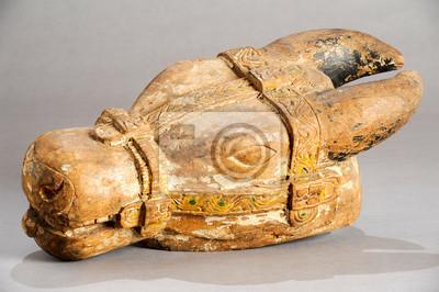 Indian wooden buffalo head