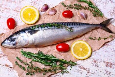 Canvas print ingredients for baking scomber fillets, include raw mackerel, lemon, garlic, rosemary