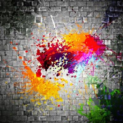 Canvas print ink splatter on stone wall