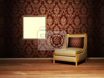 Interior design scene with an armchair and a picture