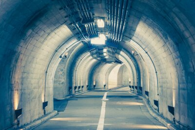 Canvas print Interior of an urban tunnel at mountain without traffic..