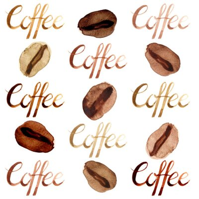 Canvas print Isolated watercolor illustrated and painted brown coffee beans and lettering pattern set