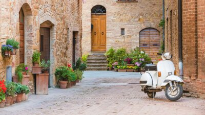 Canvas print Italian streets in the Tuscan small town and a popular single-tr