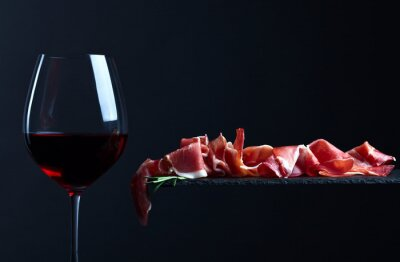 Canvas print jamon with red wine
