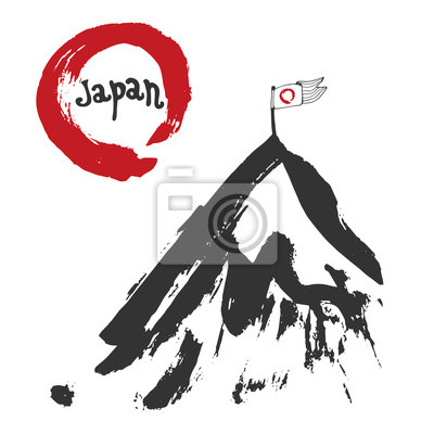 Japan mountain and red sun flag. Sumi-e. Red zen circle hand-drawn with ink. Vector artwork