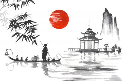 Canvas print Japan Traditional japanese painting Sumi-e art Japan Traditional japanese painting Sumi-e art Man with boat