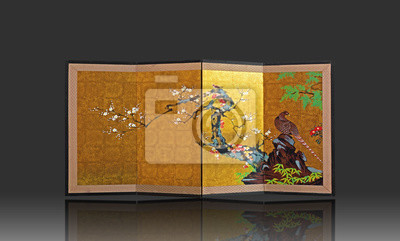 Japanese Folding Screen with Japanese Style Painting on Gray Background, Clipping Path