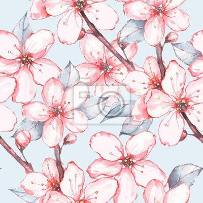 Japanese garden 13. Seamless floral pattern. Watercolor painting. Flowers and leaves