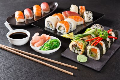 Canvas print Japanese seafood sushi set