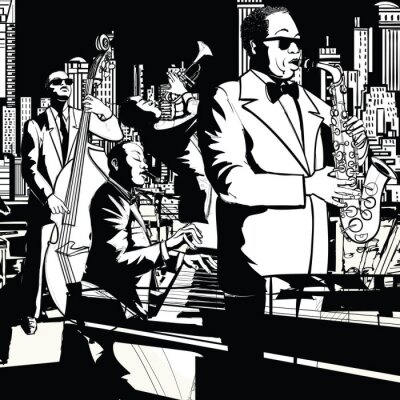 Canvas print Jazz band playing in New York