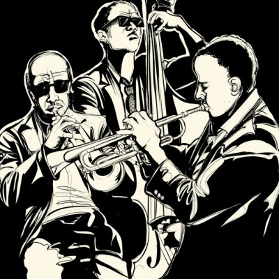 Canvas print jazz band with  trumpet and double bass