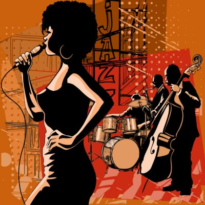 Canvas print Jazz singer with saxophonist and double-bass player
