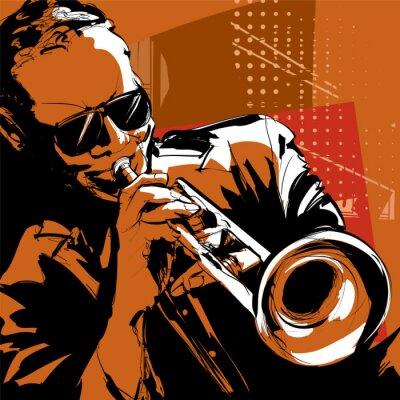 Canvas print Jazz trumpet player