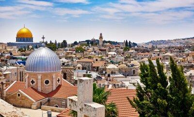 Canvas print Jerusalem panoramic roof view