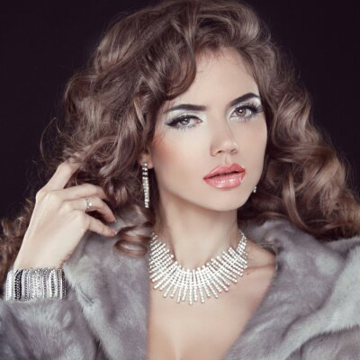 Canvas print Jewelry and Fashion elegant lady. Beautiful Woman wearing in Lux