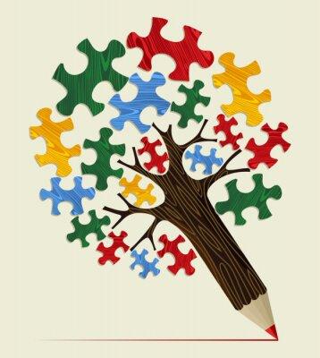 Canvas print Jigsaw strategic concept pencil tree